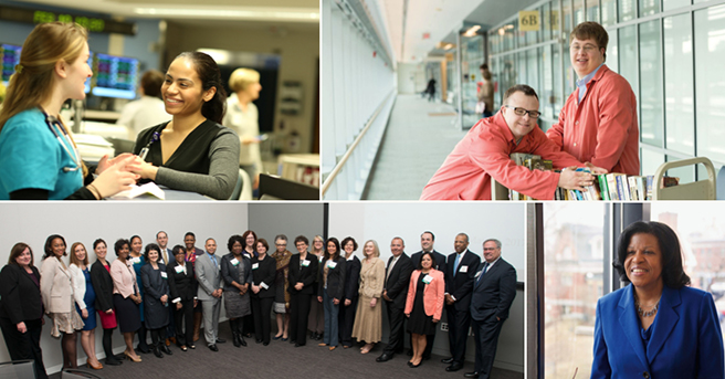 Collage of pictures of employees at Partners HealthCare