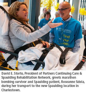 David Storto with patient at Spaulding Rehab Hospital