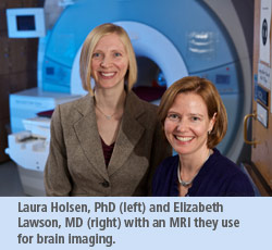 Two researchers in front of an MRI
