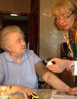 home care patient receiving care from a nurse