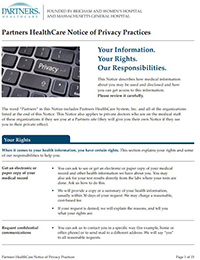 Partners HealthCare Privacy Notice English cover image